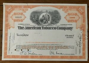 THE AMERICAN TOBACCO COMPANY - INDIAN HEADDRESS share certificate USA