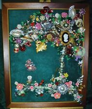 "Vintage Jewelry Art Tree of Life "" Bonnets"", Framed & Signed"
