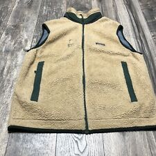 Vintage PATAGONIA Retro-X Deep Pile Sherpa Fleece Vest Sz L Green Accents