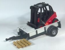 """Bruder Linde Forklift 7"""" Lift Truck With HTF 13"""" Trailer Scale Model"""