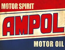 """TIN SIGN """"Ampol"""" Motor """" Gas-Oil Games Signs  Rustic Wall Decor"""