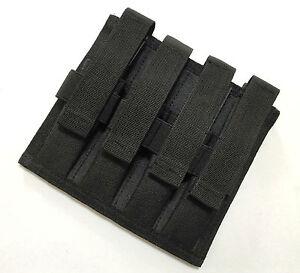 New Molle Quadruple 9mm Pistol Mag Pouch Black--Airsoft