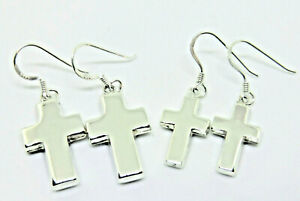 Kreuz Ohrringe 925 Sterling Silber Blockkreuz Ohrhänger 2 Größen Neu