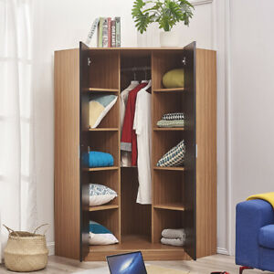 MODERN 2 Door Storage Corner Wardrobe With 10 Shelves 2 Hanging Rail  - Black