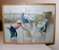original vintage V Chaiduang Thai impressionism ladies fishing oil painting art.