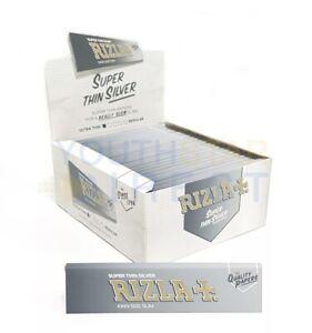 Full Box Of 50 Rizla Silver slim King Size Genuine Rolling Paper