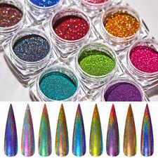 14Boxes Holographic Nail Art Powder Dust Chrome Pigment Laser Glitter Decor Set