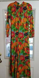 Vintage  60's 70s Psychedelic Floral Jumper Pantsuit Palazzo Wide Leg  Medium