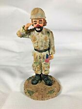 Hand Painted HOBO Clown Saluting U.S. Army Soldier Figurine in Desert Camo