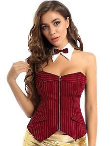 Women Strapless Zipper Front Corset Top Bustier Overbust Lace Up Corset + Collar