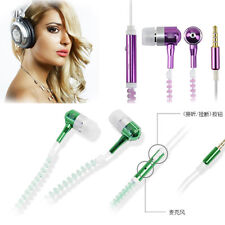 3.5mm Earphone Earbuds Luminous Zipper In-Ear Glow Dark Mic for iPhone Android