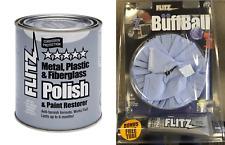 "Flitz 2lb Metal/Plastic/Fiberglass Polish Paste Can & 7"" Buff Ball + Free Tube"