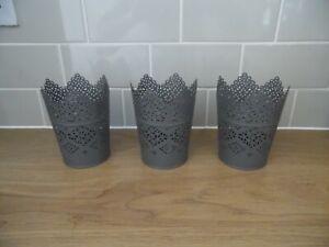 3 X Ikea Skurar Plant Pots Grey 12cm Tall Shabby Chic Metal Candle Holder NEW