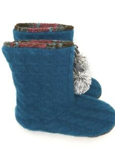 Womens Bootie Slipper Boot By Cuddl Duds Teal Size 7-8M With Gray Pom-Poms *NEW*
