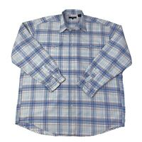 Roper Mens Size XXL 2XL White & Blue Long Sleeve Western Shirt