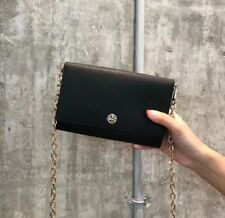 Tory Burch Wallet Gold Chain Crossbody Clutch Robinson Black Leather Navy/Gold