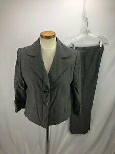 Tahari Women's Gray Pinstripe Pant Suit 10P