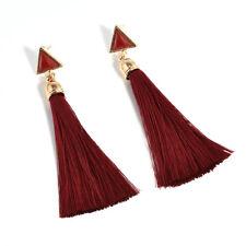 Women Bohemia Rhinestone Long Tassel Fringe Drop Dangle Earrings Fashion Jewelry Red