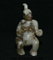 "6"" Old china Good Hetian jade carved squat people woman beast head sculpture"