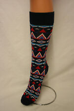 PERUVIAN STYLE NAVY BLUE CALF LENGTH LOVE SOCKS 5 TO 10 UNISEX 4 HAPPY FEET!