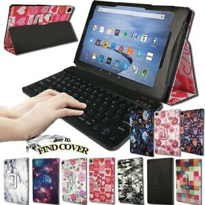 Leather Stand Cover Case + Bluetooth Keyboard For Amazon Fire HD 10 With Alexa
