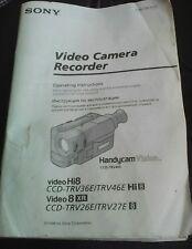 NICE SONY HANDYCAM CCD-TRV36E/TRV46E PAL CAMCORDER INSTRUCTION MANUAL, VGC