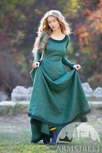 """Linen Dress """"Autumn Princess"""" """"; Green; SIZE 10"""