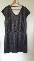 La Redoute Soft Grey Sequin Sparkle Party Open Back Dress Size 16