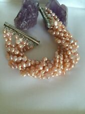 Armband 8-reihig Perlen Süßwasser Zuchtperlen rose´rosa