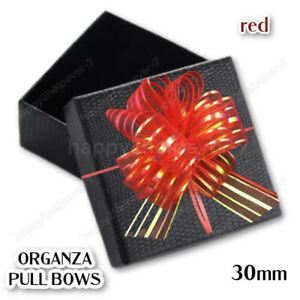 50X30mm RED ORGANZA PULL BOWS MERRY CHRISTMAS GIFT WRAP RIBBON PARTY GIFT DECOR