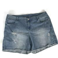 Lane Bryant Womens Shorts Size 24 Raw Hem Distressed Light Wash Stretch Denim