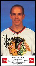 1980'S DARREN PANG AUTOGRAPH ON COKE PROMOTIONAL CHICAGO BLACK HAWKS PHOTO CARD