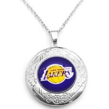 "Los Angeles Lakers Silver Photo Locket And 28"" Link Chain Necklace Womens D16-5"