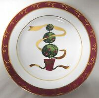THE CELLAR LUNCH OR DESSERT PLATE HOLIDAY CHRISTMAS TREE W/ RIBBON EUC