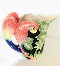 FITZ  FLOYD VINTAGE PITCHER JUNGLE PARROT HAND PAINTED CERAMIC 1988 1/1/2 QT