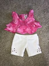 Build A Bear Outfit Pink Top White Capri Shorts