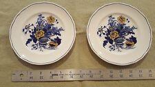 Pair of Enoch Wedgwood Tunstall Ltd Blue Yellow Surrey Salad Plates.