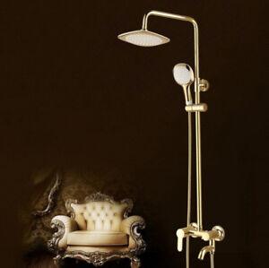 Gold Bathroom Rainfall Shower Mixer Faucet  Shower Head  Hand Spray Set