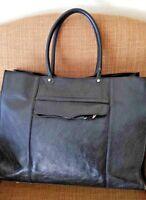 REBECCA MINKOFF Large Black Leather Shopper Shoulder Tote Purse Bag