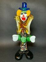 """Vintage Murano Hand Blown Art Glass Clown Figurine Italy Colorful Paperweight 9"""""""