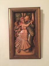 """ANRI Vintage RARE P.A. RENOIR Wood Carved 3 Dimension Wall Hanging EXC 11"""" x 7"""""""