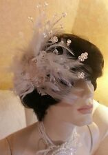 Vintage Victorian Style Feather Beaded Lace Bridal Headpiece Comb & (FREE VEIL)