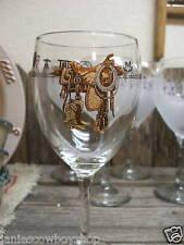 Western Decor Glassware Saddle Rodeo Dishes15 1/2 Wine Set of 4 SADDLE & BOOTS