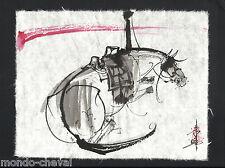 MONGOLIE ! dessin original signé sur papier de riz, CHEVAL COUCHE