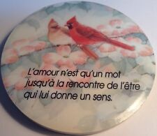 vintage refrigerator magnet, Love Birds, / Rondelle Magnétique Pour Frigo