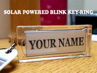 """Personalized Name Lights Up Solar Powered Custom Name Key Chain 2.6"""" Long"""