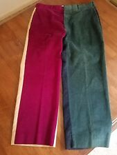 Halrin Corduroy Pants COLOR BLOCK  Vintage Golf Soft Unique – 36 x 27 60's 70's