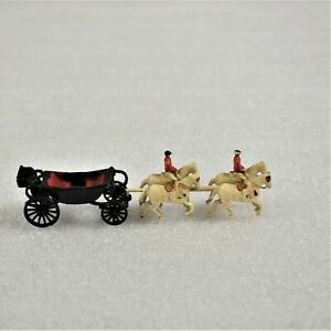 Vintage Diecast Black Horse Drawn Carriage With Riders Preowned