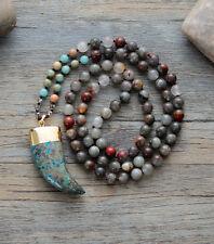 Hand Beaded long multi gemstone Tusk necklace Agate Gold Boho Beads Turquoise