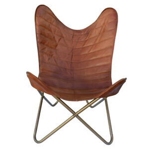 Leather Butterfly Chair With Golden Iron Pipes And Brown Cover